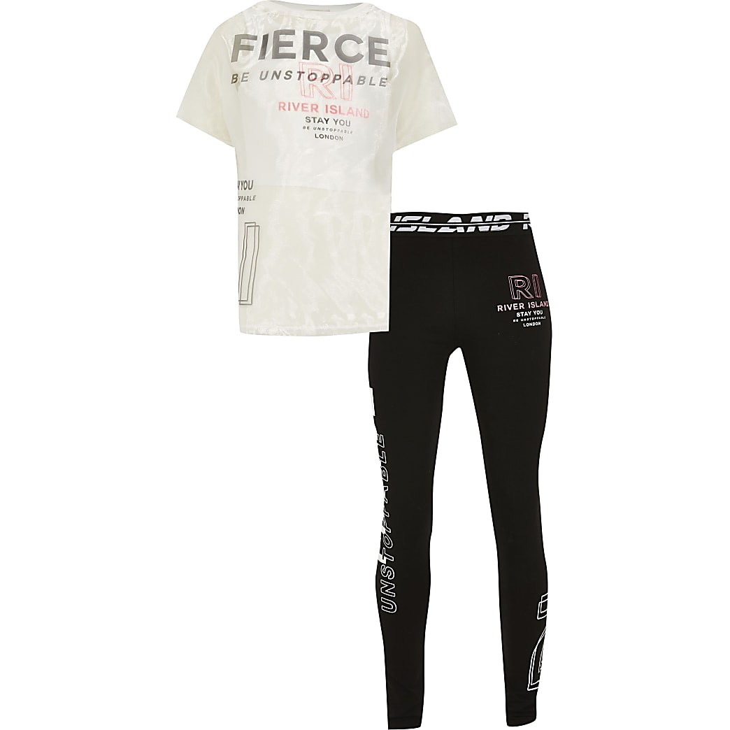 Girls white RI Active 'Fierce' t-shirt outfit