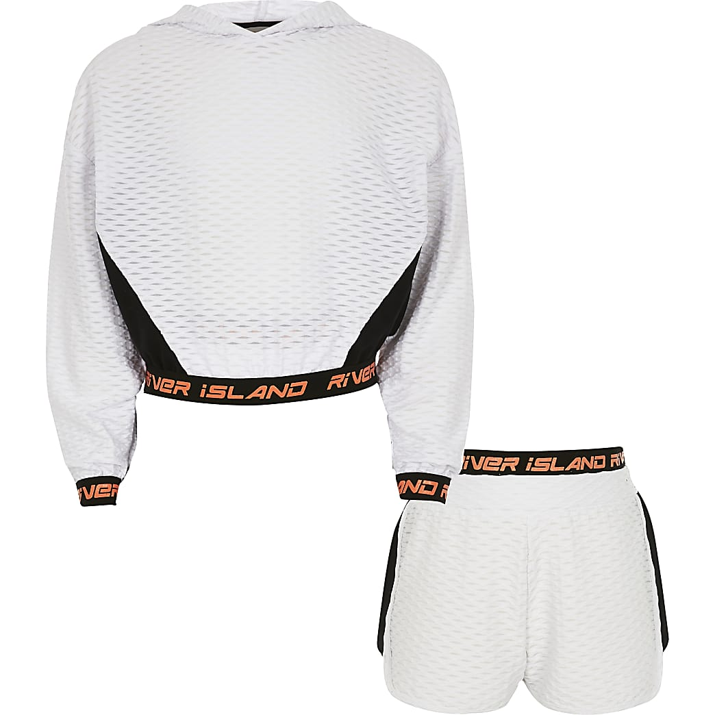 Girls white RI Active jacquard sweat outfit