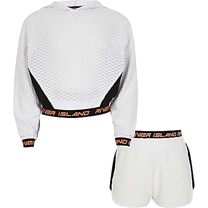 Girls white RI Active jacquard sweatshirt set