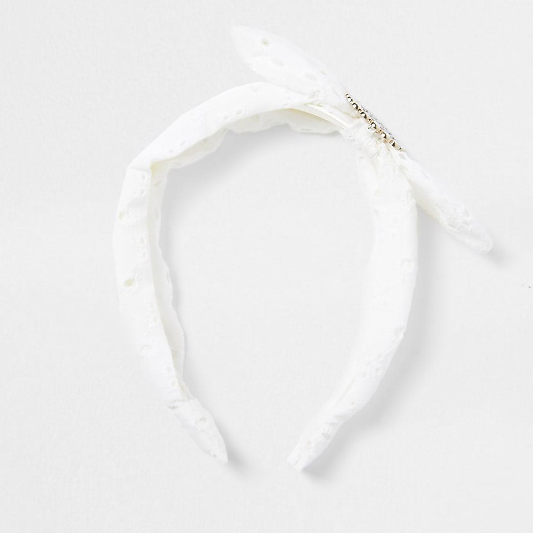 Girls white RI broiderie bow hairband