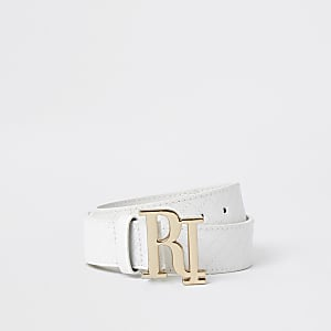 Girls White RI Buckle Quilted Belt