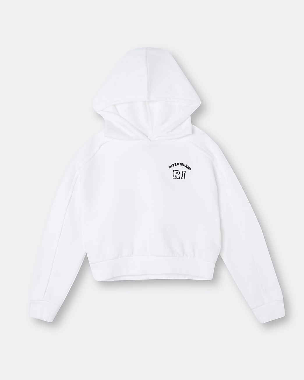 Girls white RI chest embroidered hoodie