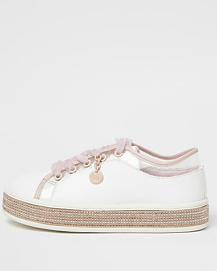 Girls white RI diamante lace up trainers