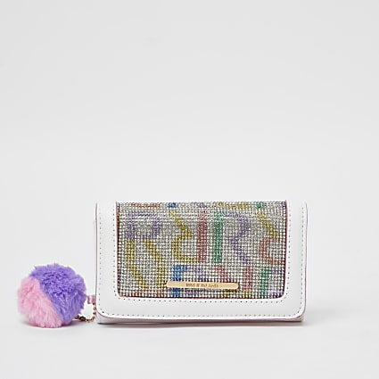 Girls white RI diamante trifold purse