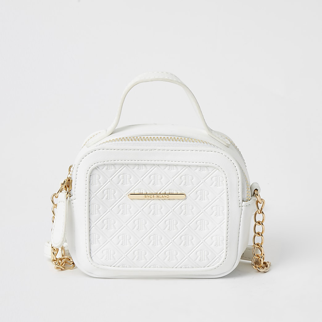 Girls white RI embossed cross body bag