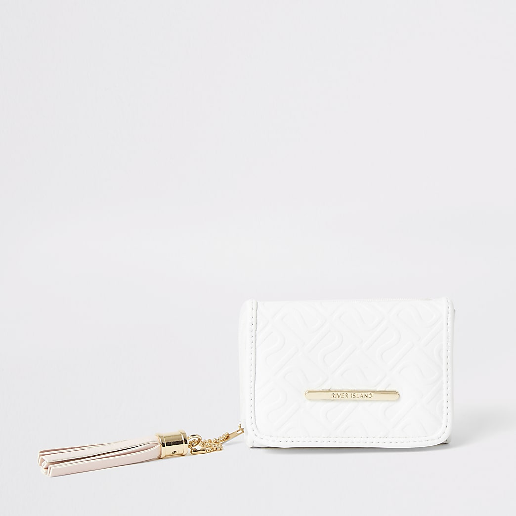 Girls white RI embossed fold out purse