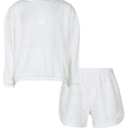 Girls white RI embossed towelling pyjama set