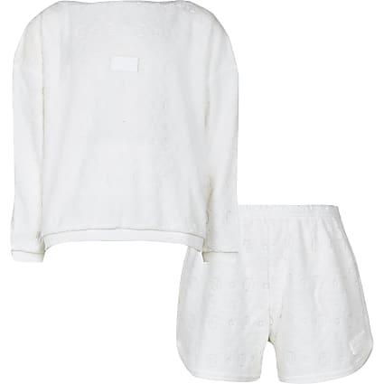 Girls white RI embossed towelling pyjama set