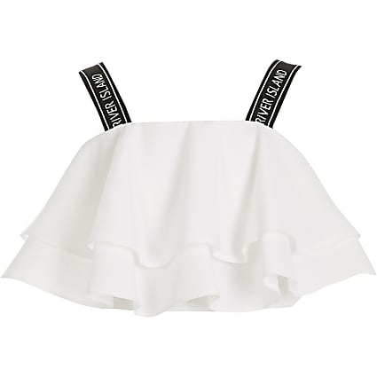 Girls white RI frill cropped top