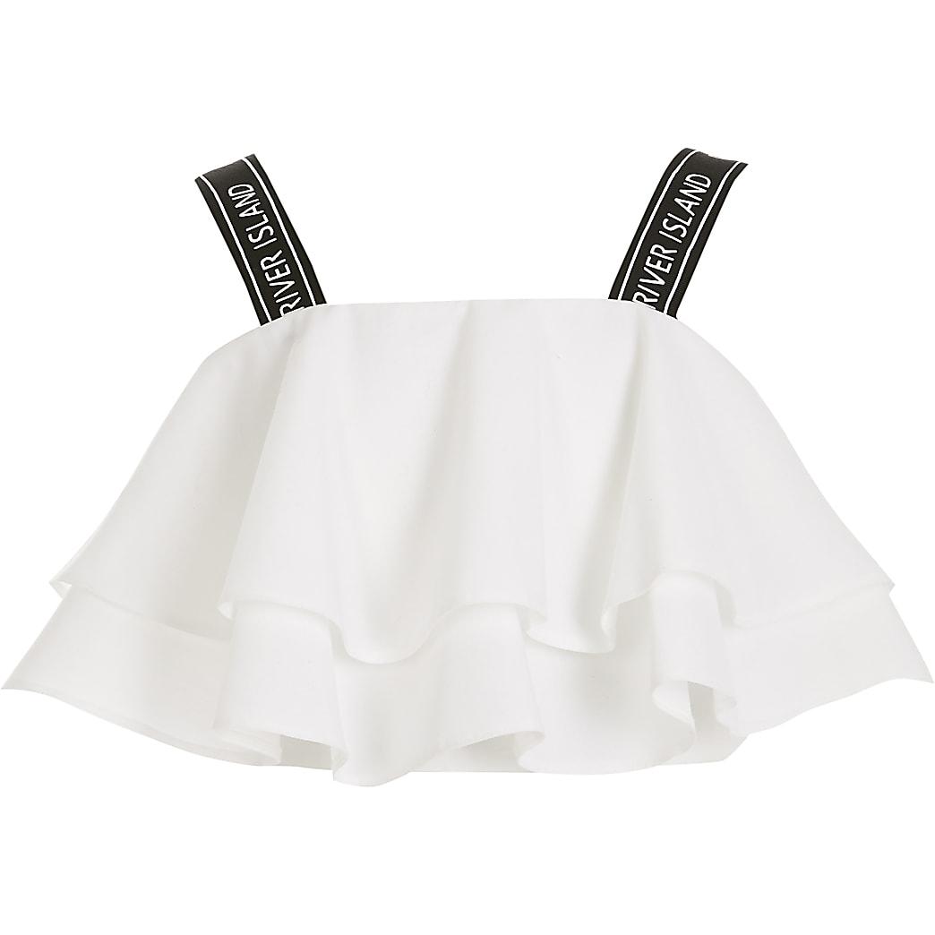 Witte cropped top met ruches en RI-bandjes voor meisjes
