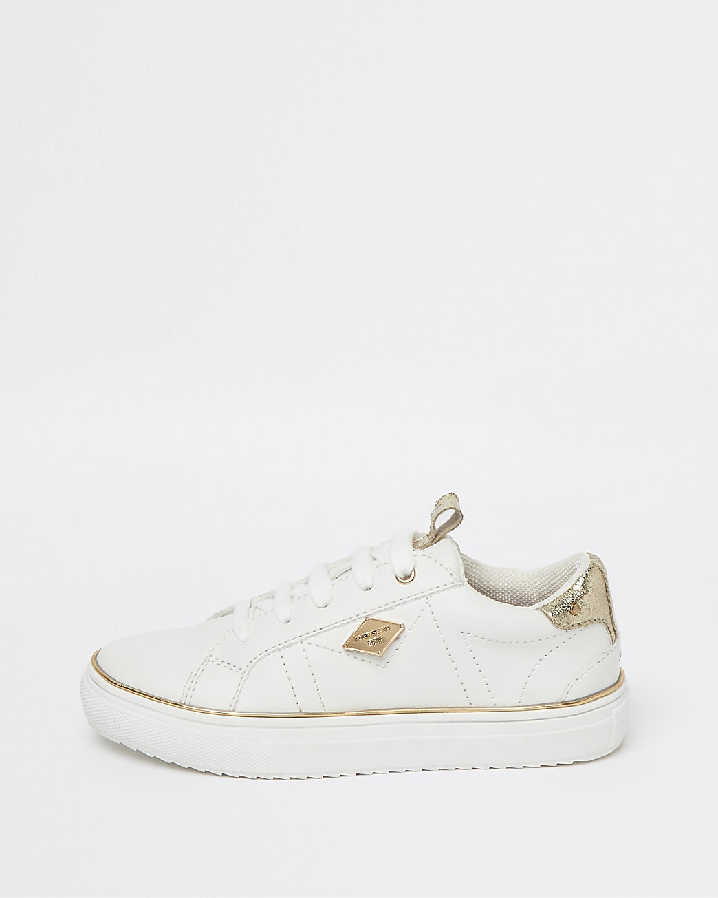 Girls white RI gold trim lace up trainers