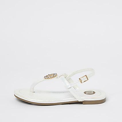 Girls white RI holographic diamante sandals