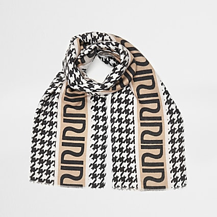 Girls white RI houndstooth scarf