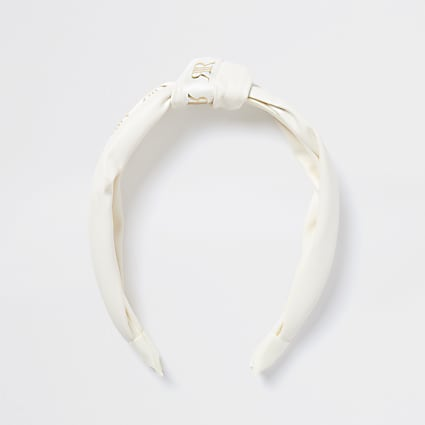 Girls white RI knot headband