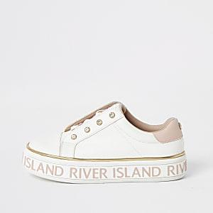 Witte RI sneakers met plateauzool en vetersluiting voor meisjes
