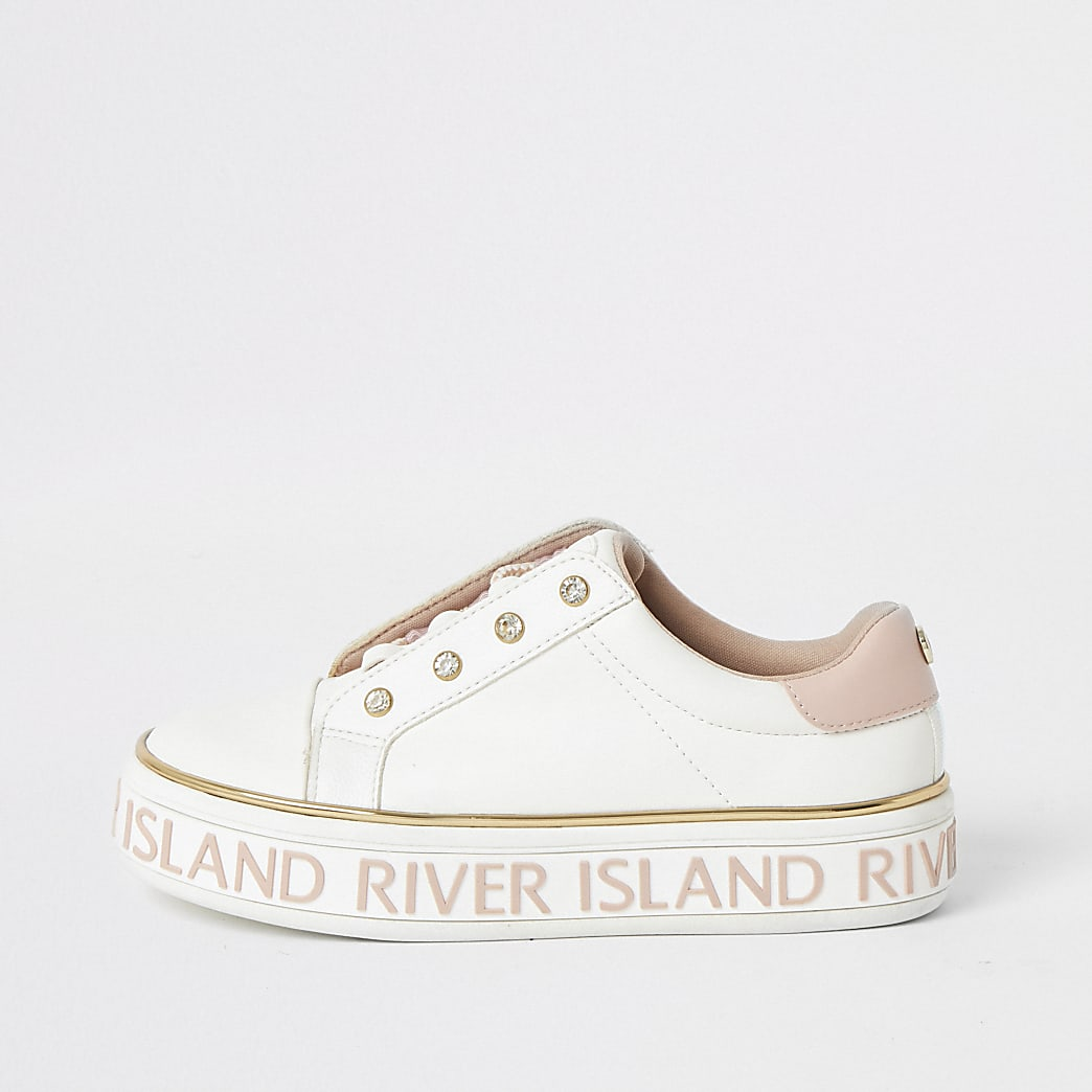 Girls white RI lace-up flatform trainers