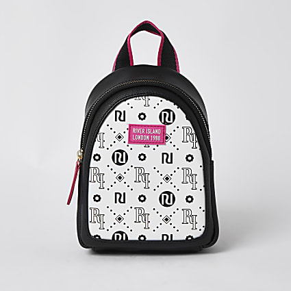 Girls white RI logo print mini backpack