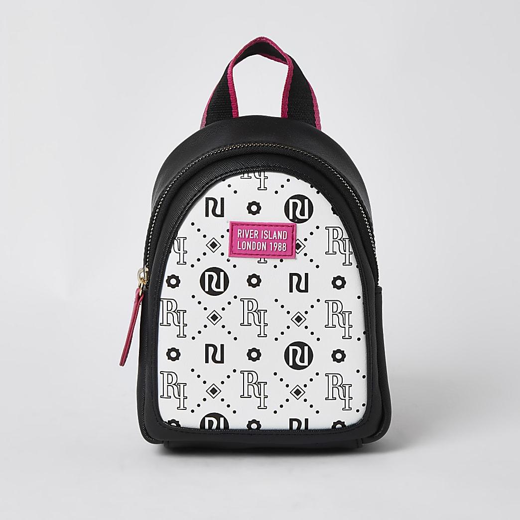 Girls white RI logo print mini backpack