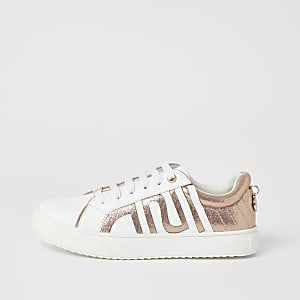 Girls white RI metallic lace-up trainers