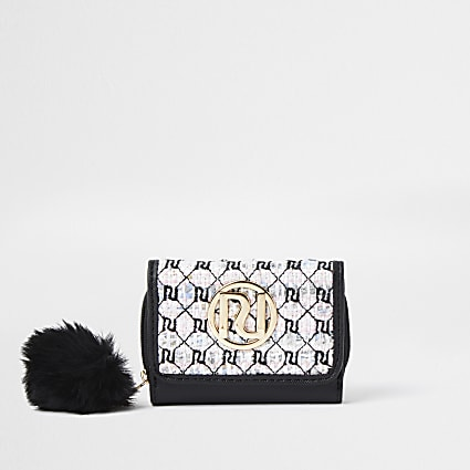 Girls white RI mono boucle purse