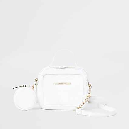 Girls white RI mono cross body bag