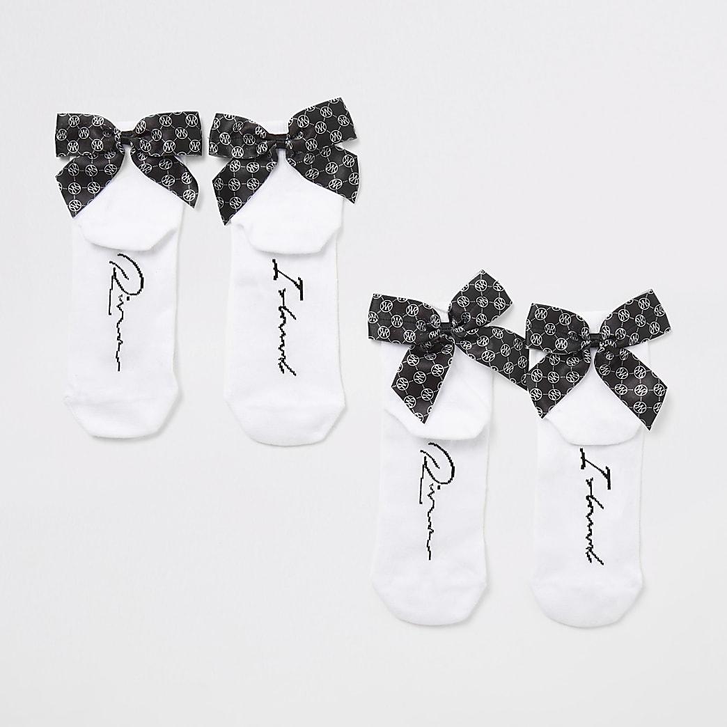 Witte sokke met RI-monogram en strikje voor meisjes set van 2