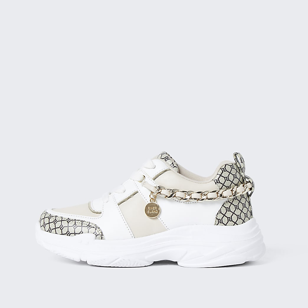 Girls white RI monogram chain trainers