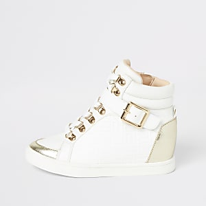 Girls white RI monogram hi top trainers