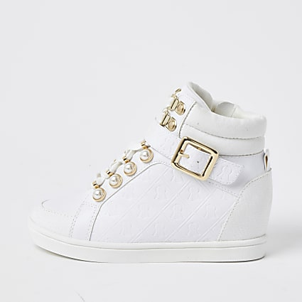 Girls white RI monogram high top trainers