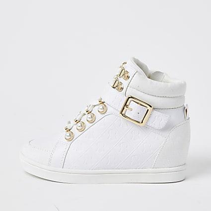 Girls white RI monogram high top trainers