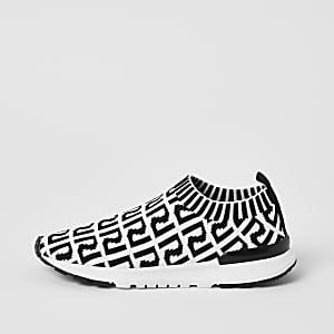 RI - Gestrickte Sneakers mit Monogramm in Weiß