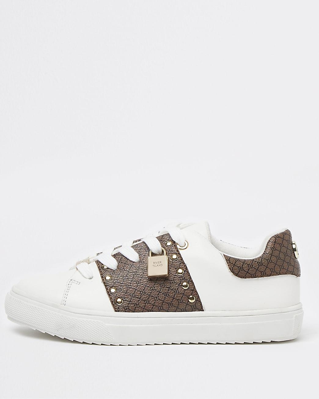 Girls white RI monogram lace up trainers