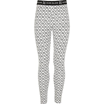 Girls white RI monogram leggings
