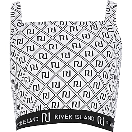 Girls white RI monogram print crop top