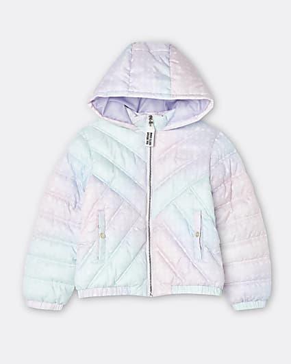 Girls white RI monogram tie dye padded coat