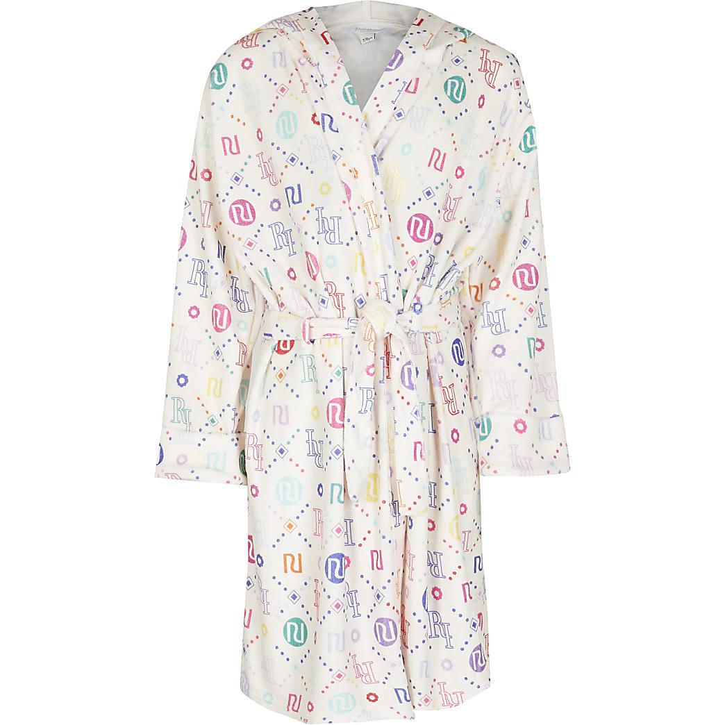 Girls white RI monogram velour robe