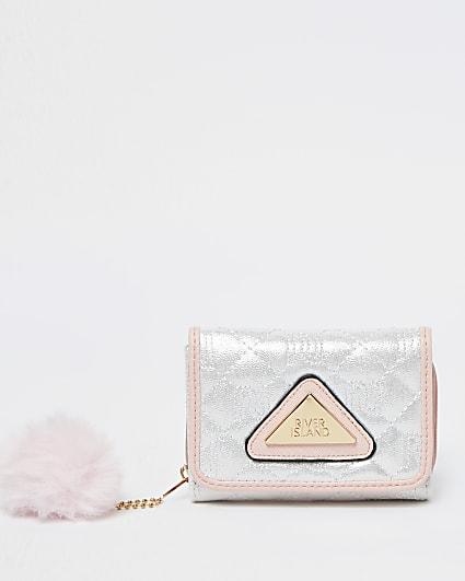 Girls white RI nylon quilted purse