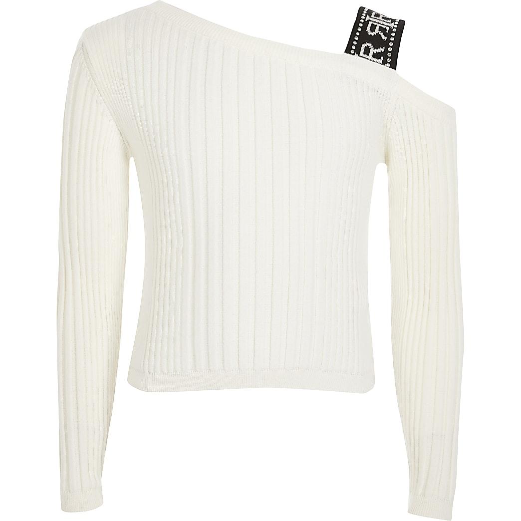 Wit geribbeld RI T-shirt met een ontblote schouder voor meisjes
