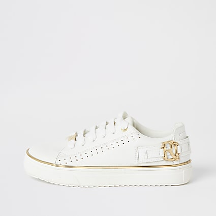 Girls white RI perforated lace-up trainers