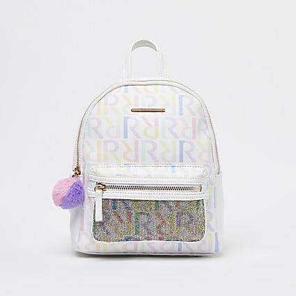 Girls white RI print diamante backpack