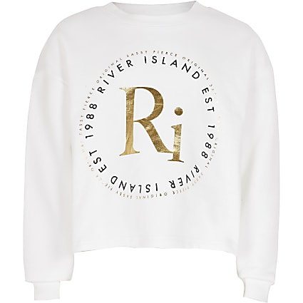 Girls white RI print sweatshirt