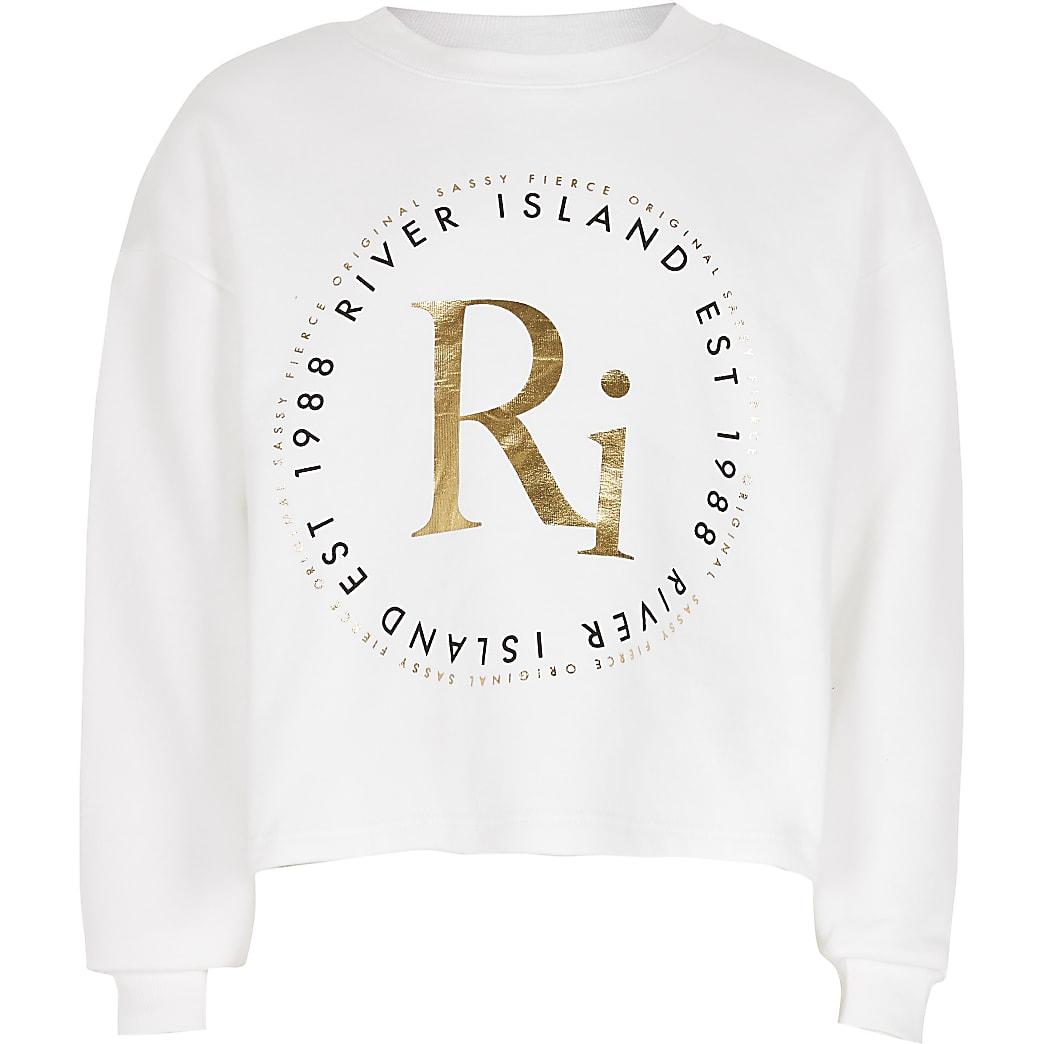 Girls white RI print sweatshirt