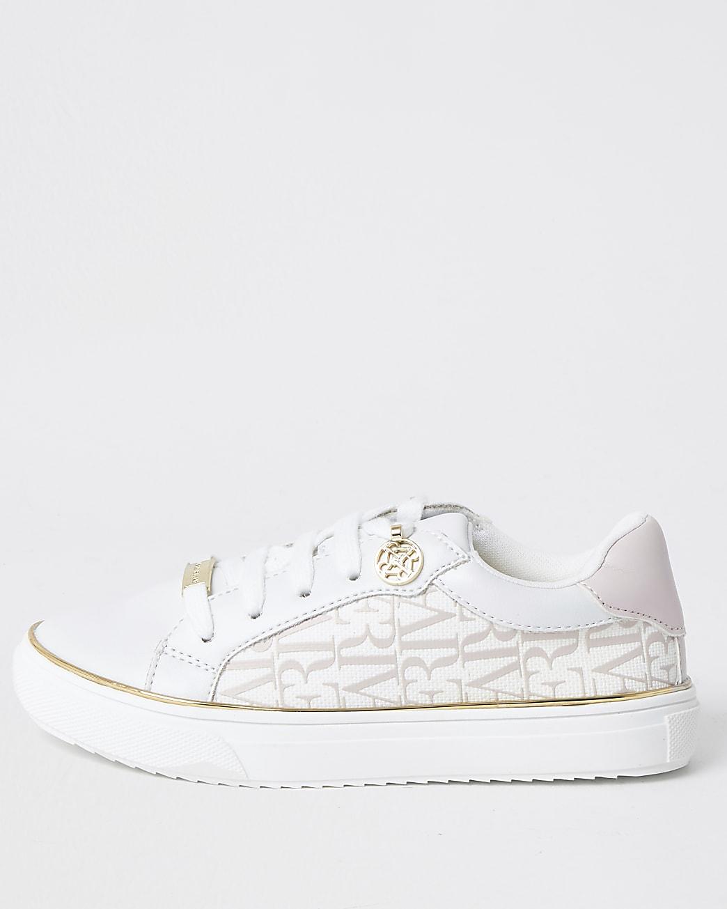 Girls white RI print trainers