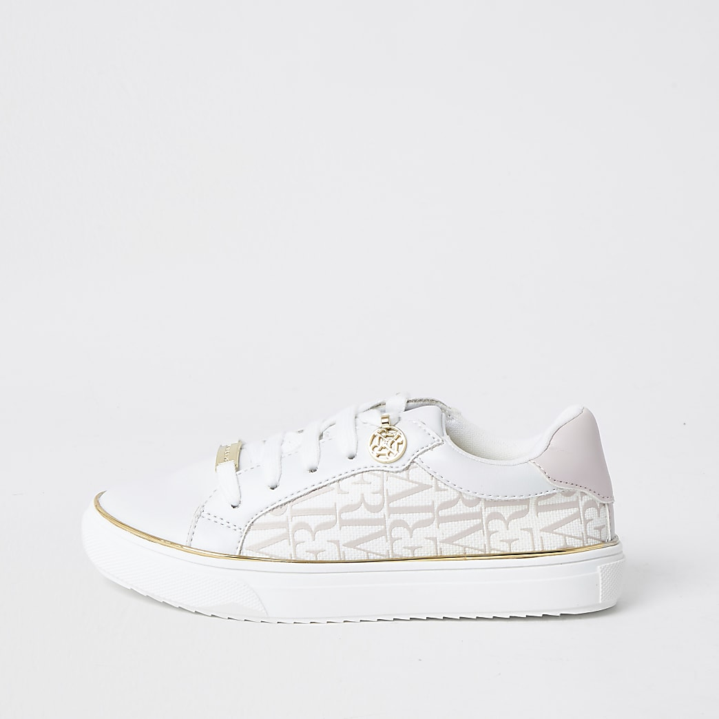 Girls white RI print trainers