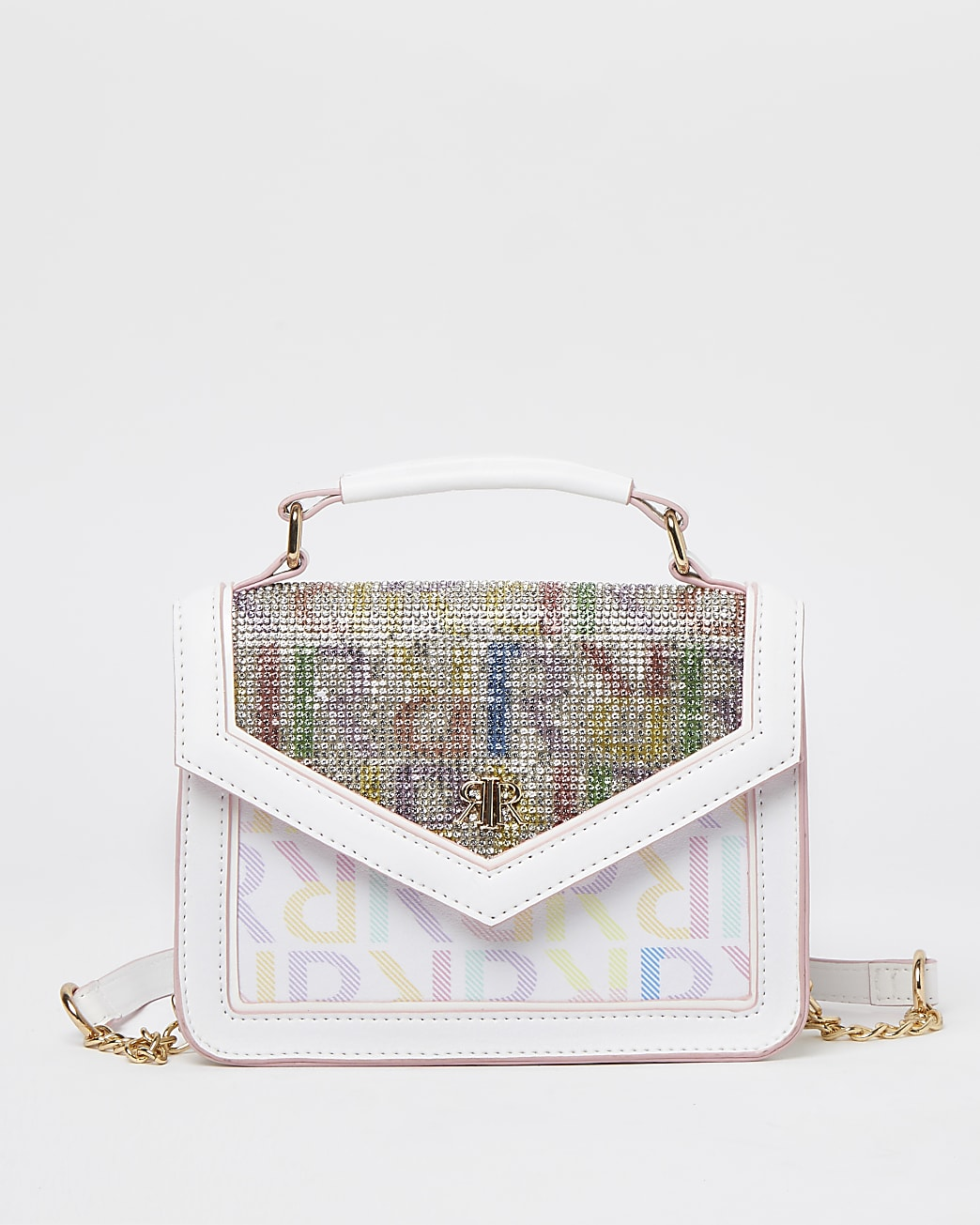 Girls white RI rainbow diamante satchel bag