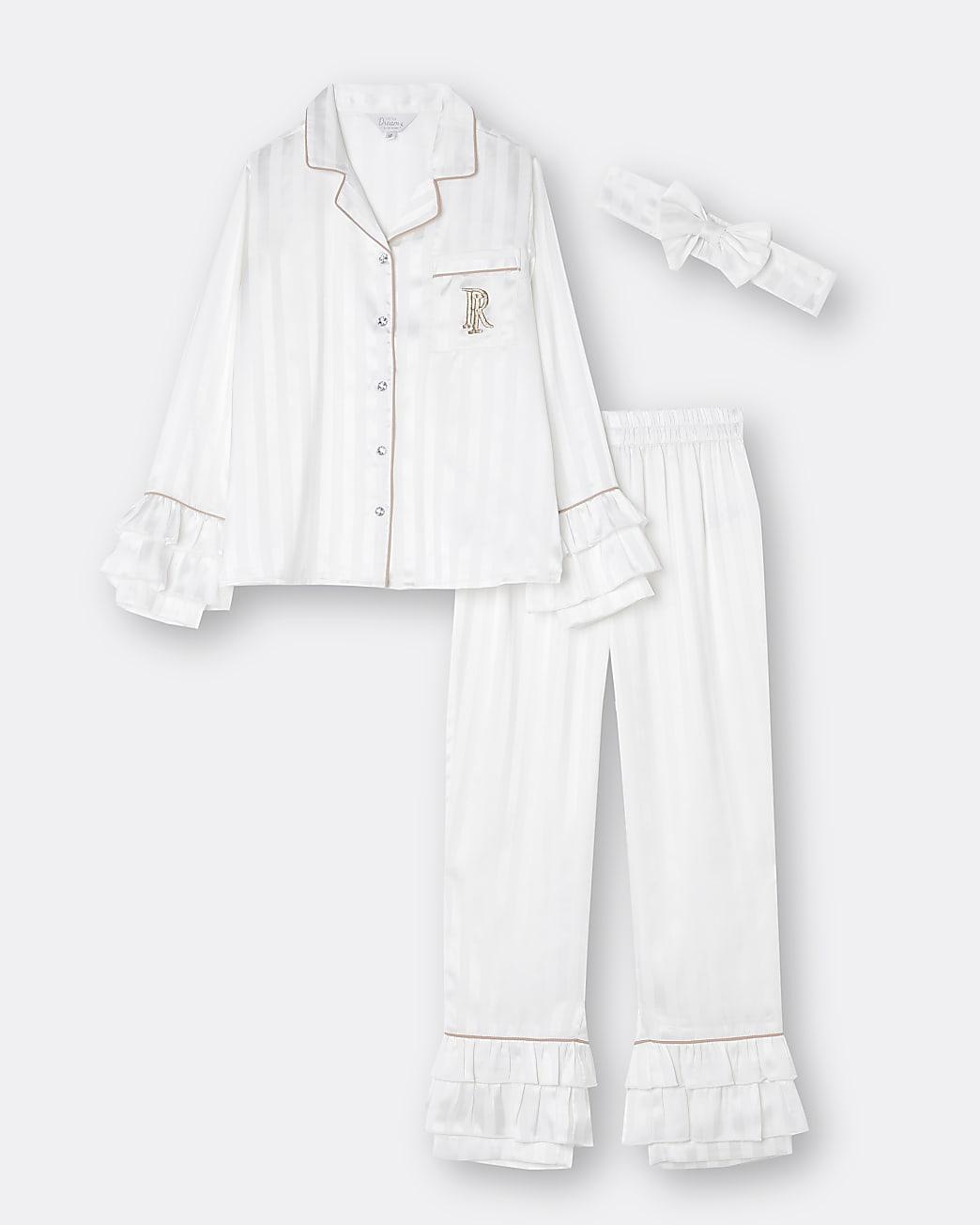 Girls white RI ruffle pyjama 3 piece pj set