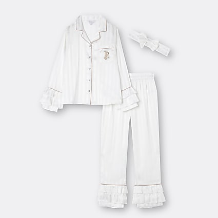 Girls white RI ruffle pyjama 3 piece set