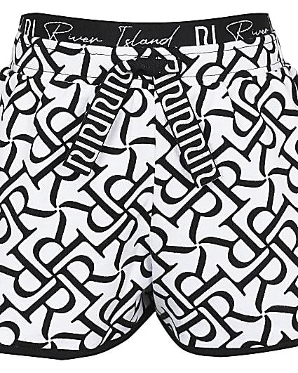 Girls white RI runner shorts