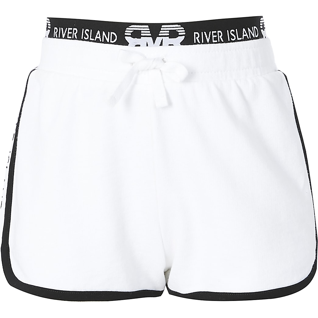 Girls white RI runner shorts