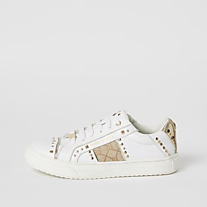 Girls white RI tape side studded trainers